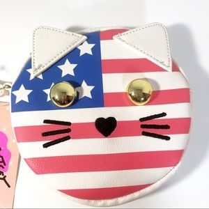 Luv by Betsey Johnson American Flag Kitty Wristlet